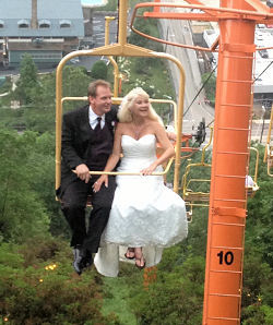 bride and groom on Sky Lift above Gatlinburg TN